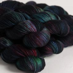 A gorgeous colourway called Poseidon. Sock yarn by Hedgehog Fibres