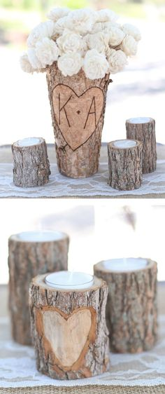 Birch Bark Candles & Vase // Great Wedding Centerpiece
