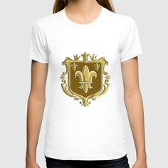 Fleur de lis Coat of Arms Gold Crest Retro T-shirt Illustration of a fleur-de-lis,  fleur-de-lys or  flower of the lily depicting a stylized lily or lotus flower inside a crest shield coat of arms done in retro style. #illustration #FleurdelisCoatofArms