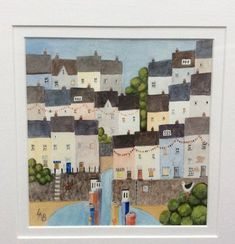 An original water colour painting from my series of west country harbours. This painting is framed, and overall size is 40cm square. The frame is white and the painting is double-mounted. It is ready to hang. The scene is reminiscent of seaside holidays and resorts. It would look
