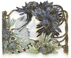 "René lalique ""Narcisse"" dog collar"" Of openwork design, centering upon a carved glass profile of Narcissus and his slate blue enamel reflection, adorned by a royal blue enamel chrysanthemum headdress and surround, enhanced by greenish blue enamel flowers, mounted in gold, ca 1900"