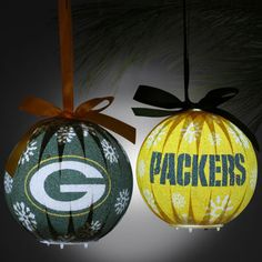 Spread holiday glee and adorn your tree with light up Green Bay Packers ornaments.