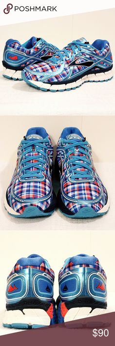 """BROOKS """"ADRENALINE"""" NANTUCKET LIMITED EDITION NO STOCK OR INTERNET PICTURES: THESE ARE THE ACTUAL SHOES YOU WILL RECEIVE.    The all-American-themed plaid and subtle, nautical-inspired print accents of the Nantucket (Poppy Red/Peacoat Navy/Strong) perfectly capture the coastal culture of the eastern seaboard, in a design influenced by the Boston Marathon.  Lightweight, breathable, moisture-managingupper  Lace-up closure.  Plush tongue and collar.  Breathable, moisture-wicking  Full-length…"""