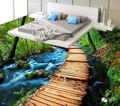 3 d pvc flooring custom wall sticker picture 3 d Jungle river bridge sitting room paintings photo wall murals wallpaper Cheap Wall Murals, 3d Flooring, Bathroom Flooring, Floor Wallpaper, Wallpaper Murals, Custom Wall Stickers, Floor Stickers, 3d Tiles, Wall Tiles