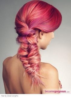 AMAZING Fishtail. And that color is incredible #rainbowbright #braidsgalore #fishtail