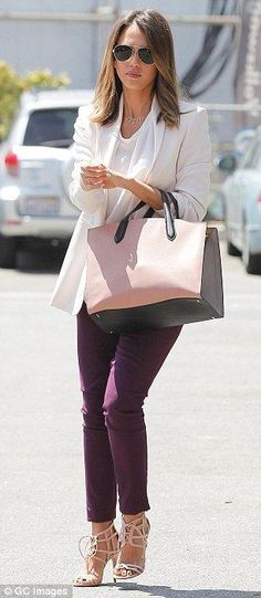 Jessica Alba make chic sartorial statement as she heads to work - Celebrity Street Style
