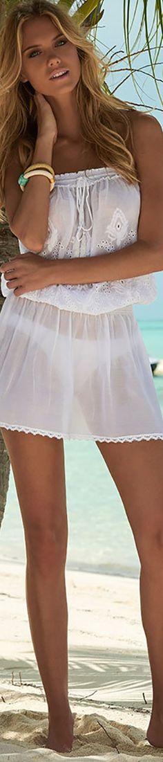 MELISSA ODABASH FRULEY BANDEAU SHORT DRESS WHITE
