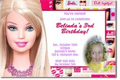 barbie invitation free template download | barbie birthday invitations these 4x6 or 5x7 customized invitations ...