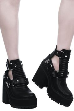 Electra Cut-Out Heels [B] | KILLSTAR If making a statement whilst keepin' it low-key comfort is yer thing - look no further! The 'Electra' cut-out heeled booties are just perfection; body in luxe faux leather, stitch detailing to front with cut-out sides, buckles and high platform - giving you just the right amount of elevation. Ready to rock with yer coven, nights out - or just doing day-to-day adventures.