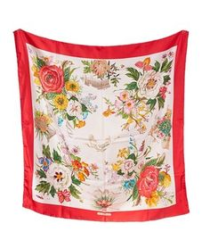 """Gucci Red and White Multicolor """"Le Civilta"""" Silk Scarf (18370). Get the lowest price on Gucci Red and White Multicolor """"Le Civilta"""" Silk Scarf (18370) and other fabulous designer clothing and accessories! Shop Tradesy now"""