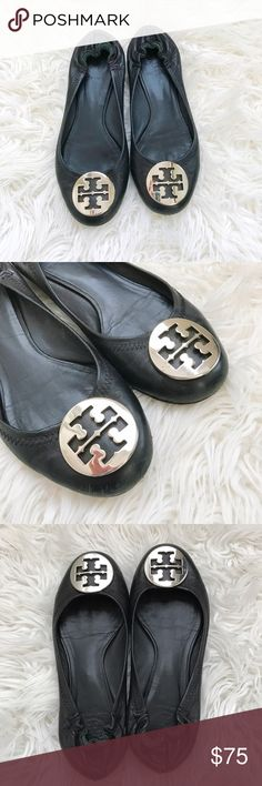 Tory burch leather reva flats with silver logo Black leather Tory Burch Reva round-toe flats with silver tone logo emblem. Normal wear Used condition. Pls see pictures for wear. Bottom outsole has alot of life left. Inside the top of the insole is coming off but can be easily fixed. The size is missing but i believe its a size 7, i wear 7.5 shoes and these are really tight. Some scuffs here and there but alot of life yet. Tory Burch Shoes Flats & Loafers