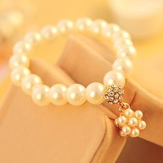 Korean Accessories Wholesale Princess Pearl Bracelets Korean Accessories, Jewelry Accessories, Unique Jewelry, Korean Jewelry, Very Lovely, Wholesale Jewelry, Pearl Necklace, Fashion Jewelry, Beaded Bracelets