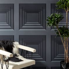 Inspired by the structured architecture throughout its namesake, large-scale dark grey wallpaper references the boldness of the Roman Empire. Repeating stacked squares create optical illusion reminiscent of wood paneling. Dark Grey Wallpaper, Aqua Wallpaper, Modern Wallpaper, Geometric Wallpaper, Home Decor Mirrors, Wall Art Decor, Beadboard Wainscoting, Chair Rail Molding, Modern Curtains
