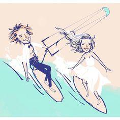 Save The Date - Couple Surfing #illustration of a #surfing and #kitesurfing couple for their #savethedate #postcard invitation. Done with minimal colors and mid-century style. #beachcouple #surfcouple #sporty #wedding #bride #destinationwedding #weddingportrait #weddingillustration #philippines #boracay #siargao
