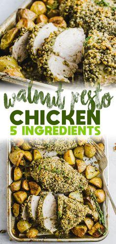 Easy Chicken Recipes, Healthy Dinner Recipes, Drink Recipes, Healthy Meals, Yummy Recipes, Walnut Pesto, Walnut Recipes, Pesto Chicken, Family Meals