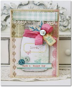 """melissa phillips, such a softness about this card, and great congrats,  """"such a happy day"""""""