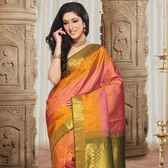 Pink and Yellow Pure Handloom Kanchipuram Silk Saree with Blouse