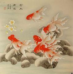 #Autor desconocido fish asian art Pin me!