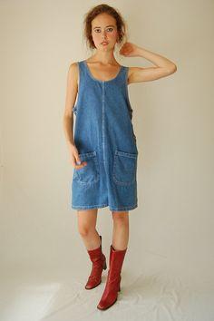 7f5885945b58 Denim Jumper Vintage 90s Stonewashed Oversized Cotton Denim Jumper Mini  Dress (m l)