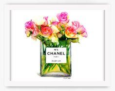 Chanel Makeup Brushes Print Illustration by aprilmarionART