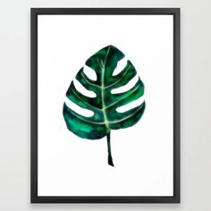 Green Monstera Leaf Framed Art Print Quote Prints, Framed Art Prints, Group Boards, Drawing S, Home Interior Design, Gallery Wall, Sketches, Posters, Paintings