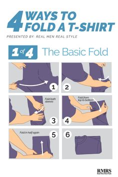 How To Fold a T-Shirt Fast - Best Quick Ways Of Folding T-Shirts Whether you're travelling and want to save space in your suitcase or you just want to know how to fold your T- shirts properly, read our guide below. Shirt Folding Board, Cool T Shirts, Tee Shirts, Real Men Real Style, Shirt Print Design, Shirt Designs, Mens Style Guide, Konmari, Clothing Hacks