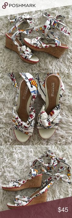 Sperry Top-Sider Tie-up Nautical Wedges ⛵️ ⛵️⛵️ These wedges are in excellent condition!  They are perfect for day or night.  The Nautical theme is perfect for summer.  They can be tied to the perfect fit! Sperry Top-Sider Shoes Wedges