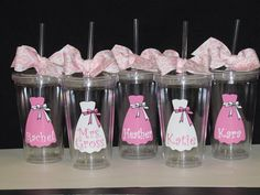 SET OF 4 Wedding party acrylic plastic tumblers by SquigglyDoodles, $40.00