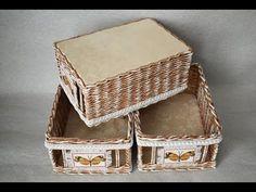 How to Make a Basket from Newspaper tutorial Návod na pletené z papíru Cestería con periódicos - YouTube