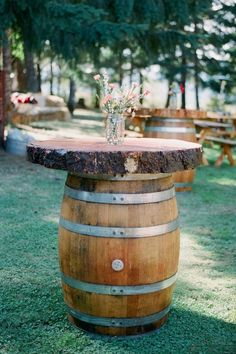 Wine barrel cocktail tables / http://www.deerpearlflowers.com/perfect-rustic-wedding-ideas/2/