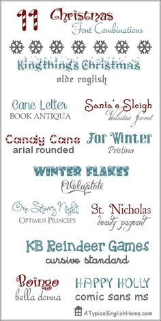11 Great Christmas Font Combinations - A Typical English Home