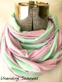 strips jersey knit infinity scarf- pastel purple, mint green, stripes, jersey knit, pastels, scarf, cotton, circle scarf, free shipping #etsy  #gifts