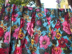 Vintage Bark Cloth Era Bright Hibiscus Tropical Print Curtains Drapes New 60s | eBay