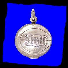 BASKETBALL 3D Danecraft Sterling Silver Charm or Pendant Vintage 1960s Danecraft