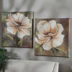 Vintage White Floral Canvas Art Print | Kirklands