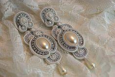 Bridal Long Soutache Earrings by BeadsRainbow