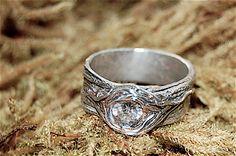 "Ring Tree Knot WEDDING ENGAGEMENT CZ  Fine Silver Bark Band ""Sylvan"". $130.00, via Etsy."