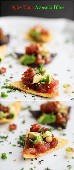 Spicy Tuna Tartare Avocado Bites - just 5 ingredients in this healthy delicious appetizer. : Spicy Tuna Tartare Avocado Bites - just 5 ingredients in this healthy delicious appetizer. Fish Recipes, Seafood Recipes, Cooking Recipes, Hawaiian Recipes, Bar Recipes, Cream Recipes, Grilling Recipes, Healthy Recipes, Yummy Appetizers