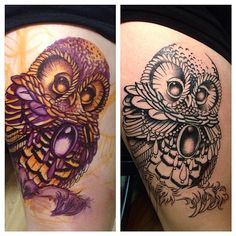 Drew this cute owl on with purple and orange sharpie then started the outline! #process #progress  IG @ryanashleymalarky