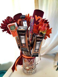 "Kenny's Virginia Tech birthday ""man bouquet"""
