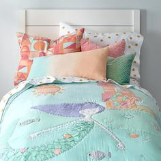 Mermaid Kids Bedding from The Land of Nod on Catalog Spree Mermaid Bedding, Mermaid Bedroom, Mermaid Quilt, Girls Bedroom, Bedroom Decor, Bedroom Furniture, Bedroom Inspo, Bedroom Ideas, Mermaid Room Decor