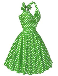 Retro Polka Dot Party Dress White on Green by TheFadedSunflower