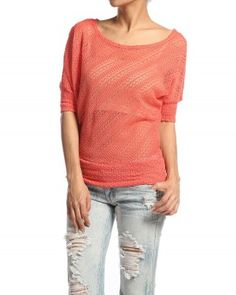 $19.00 Dolman Sleeve LACED KNIT TOP