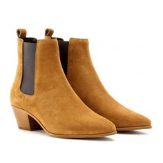 Saint Laurent Wyatt Suede Chelsea Boots ($830) ❤ liked on Polyvore featuring shoes, boots, ankle booties, shoes - boots, - shoes, clothes - shoes, brown, yves saint laurent, brown boots and brown chelsea boots