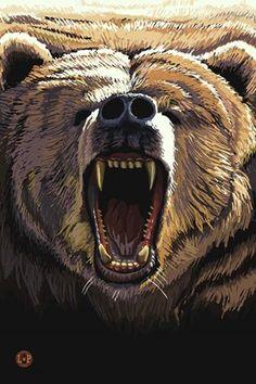 Framed Angry Bear Print