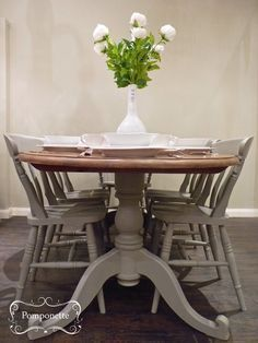 Oval Dining Table and Six Chairs. Pedestal detail. @anniesloanhome custom mix to create a mushroom shade with a mix of Soft Wax on top | by Pomponette
