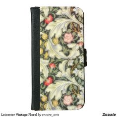 """Leicester Vintage Floral iPhone 6/6s Wallet Case - Leicester was designed as a block printed wallpaper by John Henry Dearle in 1912. Inspired by William Morris' earlier design """"Bachelors Button"""" of 1892, Leicester evokes the romance of the medieval past that so inspired Morris. Sold at Encore_Arts on Zazzle."""