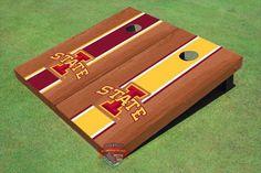 "Iowa State University """"I"""" Rosewood Alternating Long Stripe Cornhole Boards"