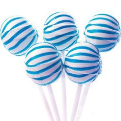 Large Blue Striped Ball Lollipops Those look yummie!