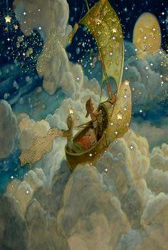 Wynken, Blynken and Nod Illustration Art And Illustration, Fantasy Kunst, Fantasy Art, Art Magique, Fairytale Art, Moon Art, Whimsical Art, Illustrators, Fairy Tales